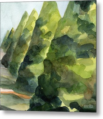 Topiary Parc St Cloud Watercolor Painting Of France Metal Print by Beverly Brown
