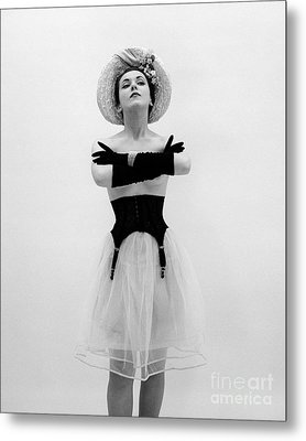 Topless Woman With Long Gloves, C.1950s Metal Print