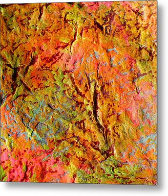 Topographical Map Color Poem Metal Print