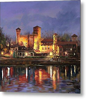 Torino-il Borgo Medioevale Di Notte Metal Print by Guido Borelli