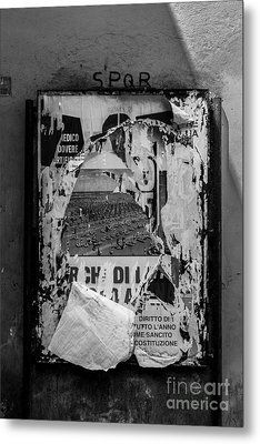 Torn Posters Rome Italy Metal Print by Edward Fielding