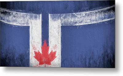 Metal Print featuring the digital art Toronto Canada City Flag by JC Findley