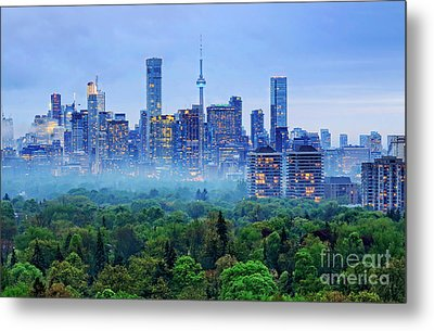 Toronto Downtown And Midtown Evening Clouds Metal Print by Charline Xia