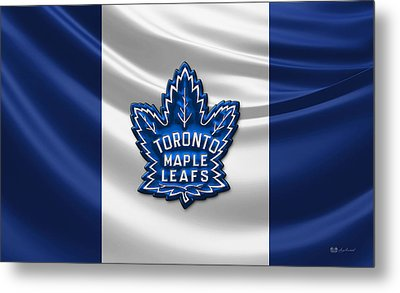 Toronto Maple Leafs - 3d Badge Over Flag Metal Print by Serge Averbukh