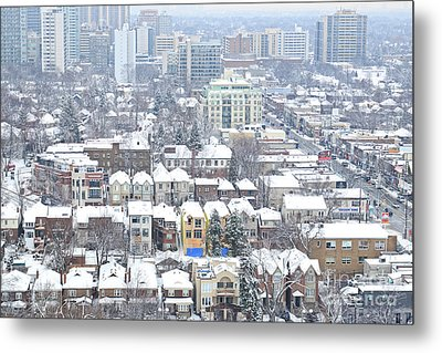 Metal Print featuring the photograph Toronto Midtown Fresh Snow by Charline Xia