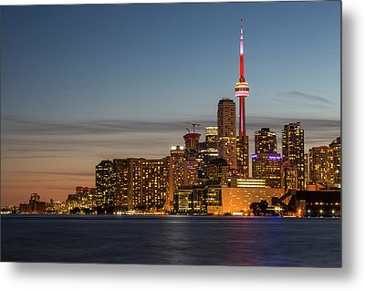 Metal Print featuring the photograph Toronto Skyline At Dusk by Adam Romanowicz