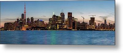 Metal Print featuring the photograph Toronto Skyline At Dusk Panoramic by Adam Romanowicz