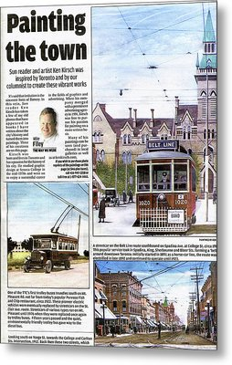 Metal Print featuring the painting Toronto Sun Article Painting The Town by Kenneth M Kirsch