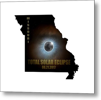 Total Solar Eclipse In Missouri Map Outline Metal Print by David Gn