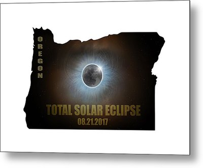 Total Solar Eclipse In Oregon Map Outline Metal Print by David Gn