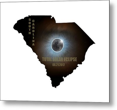 Total Solar Eclipse In South Carolina Map Outline Metal Print by David Gn