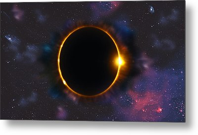 Total Solar Eclipse In Space Metal Print