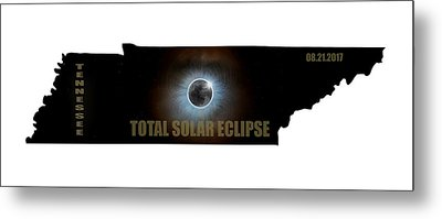 Total Solar Eclipse In Tennessee Map Outline Metal Print by David Gn