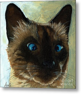 Totally Siamese - Cat Portrait Oil Painting Metal Print by Linda Apple