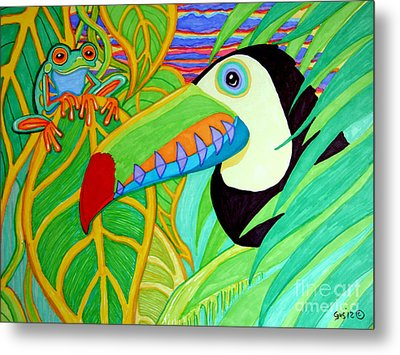 Toucan And Red Eyed Tree Frog Metal Print