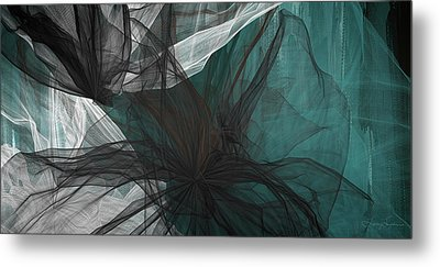 Touch Of Class - Black And Teal Art Metal Print by Lourry Legarde
