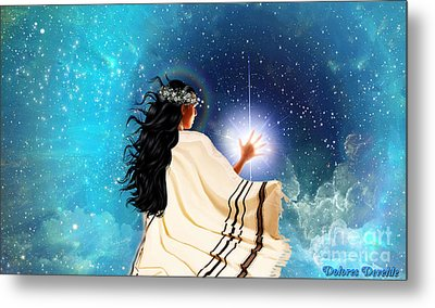 Touch The Light Metal Print by Dolores Develde