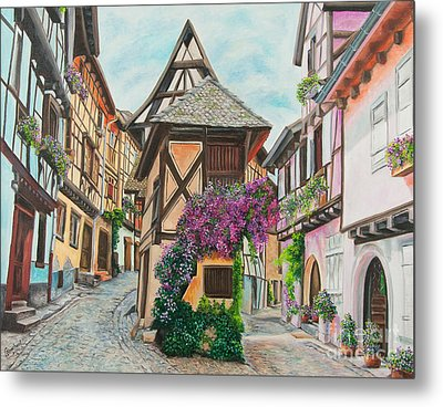 Touring In Eguisheim Metal Print by Charlotte Blanchard