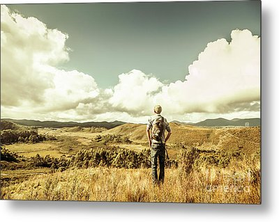 Tourist With Backpack Looking Afar On Mountains Metal Print by Jorgo Photography - Wall Art Gallery