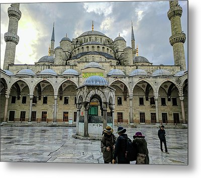 Tourists And The Blue Mosque Metal Print