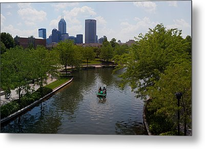 Tourists On Paddleboat In A Lake Metal Print