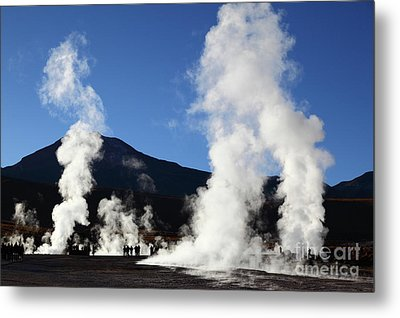 Tourists Visiting The El Tatio Geysers Chile Metal Print by James Brunker