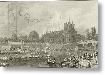 Tournay On The Seine During The July Fetes Metal Print by Eugene-Louis Lami