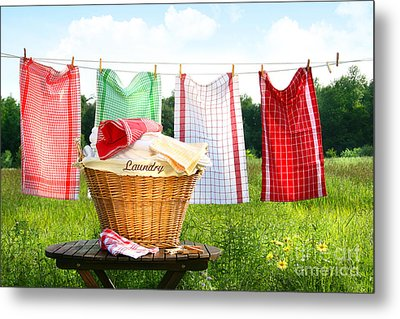 Towels Drying On The Clothesline Metal Print by Sandra Cunningham