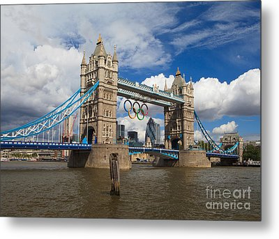 Tower Bridge And The Olympic Rings Metal Print by Pete Reynolds