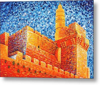 Metal Print featuring the painting Tower Of David At Night Jerusalem Original Palette Knife Painting by Georgeta Blanaru