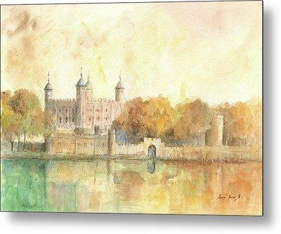 Tower Of London Watercolor Metal Print by Juan Bosco