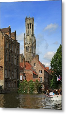 Tower Of The Belfrey From The Canal At Rozenhoedkaai Metal Print