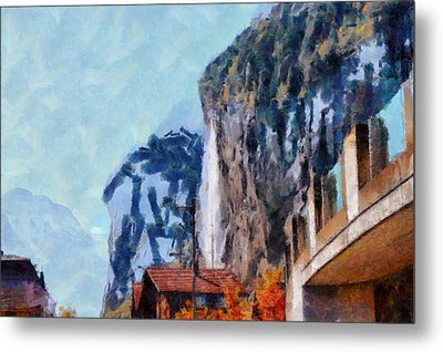 Towering Cliffs And Houses Metal Print by Ashish Agarwal