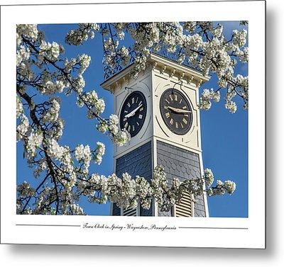 Town Clock In Spring Metal Print