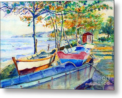 Town Fishery Metal Print by Estela Robles