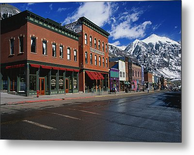 Town Stores Telluride Co Metal Print by Panoramic Images