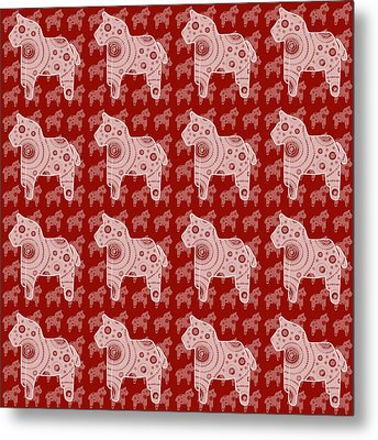 Toy Horse Pattern Metal Print by Frank Tschakert