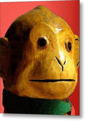 Metal Print featuring the digital art Toy Monkey by Timothy Bulone