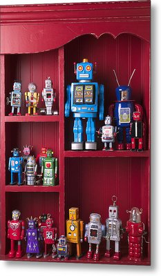 Toy Robots On Shelf  Metal Print by Garry Gay