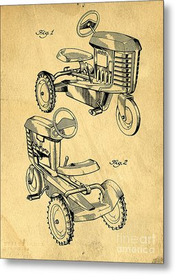 Toy Tractor Patent Drawing Metal Print