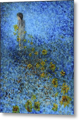 Traces Sunflowers Lost Metal Print by Nik Helbig