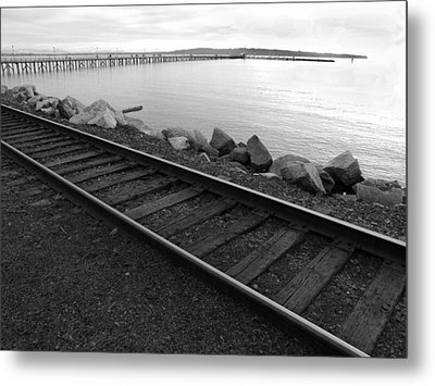 Metal Print featuring the photograph Tracks And Pier by Mark Alan Perry