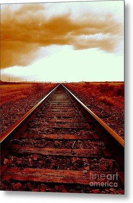 Marfa Texas America Southwest Tracks To California Metal Print by Michael Hoard