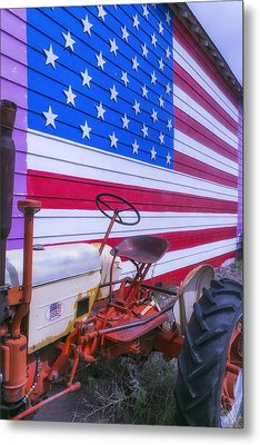 Tractor And Large Flag Metal Print by Garry Gay