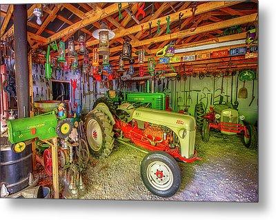 Tractor Garage Metal Print