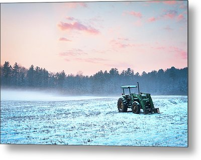 Tractor In A Snowy Field Durham Nh Metal Print by Eric Gendron