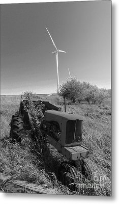 Tractor In The Wind Metal Print