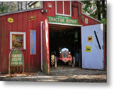 Tractor Repair Shop Metal Print by Lori Deiter