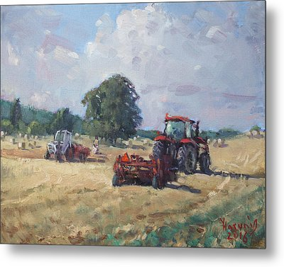 Tractors In The Farm Georgetown Metal Print by Ylli Haruni