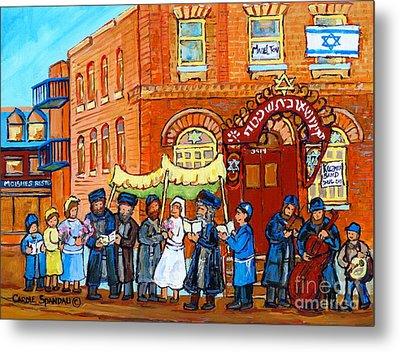 Tradition Chupa Wedding Bagg Shul Klezmer Muscian Jewish Art Montreal Memories Carole Spandau        Metal Print by Carole Spandau